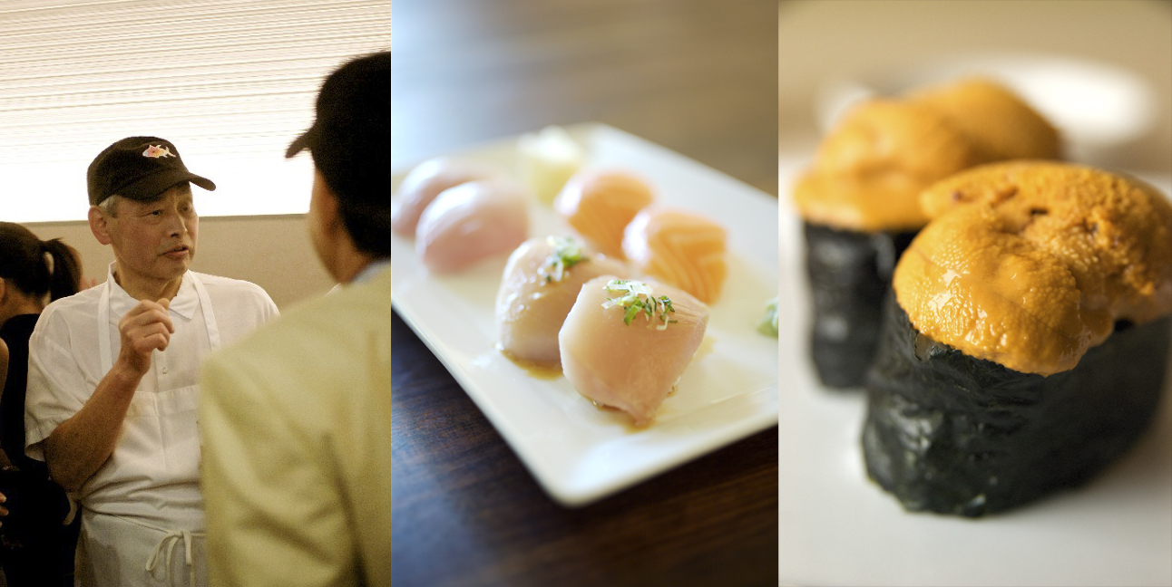 Photo composite of Chef Nozawa and his signature sushi.