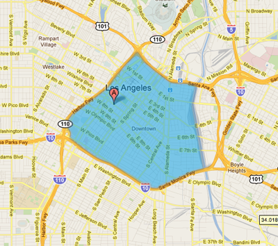 Map of Sugarfish DTLA Delivery Coverage