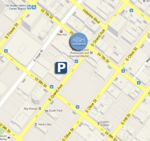 parking map for SUGARFISH DTLA