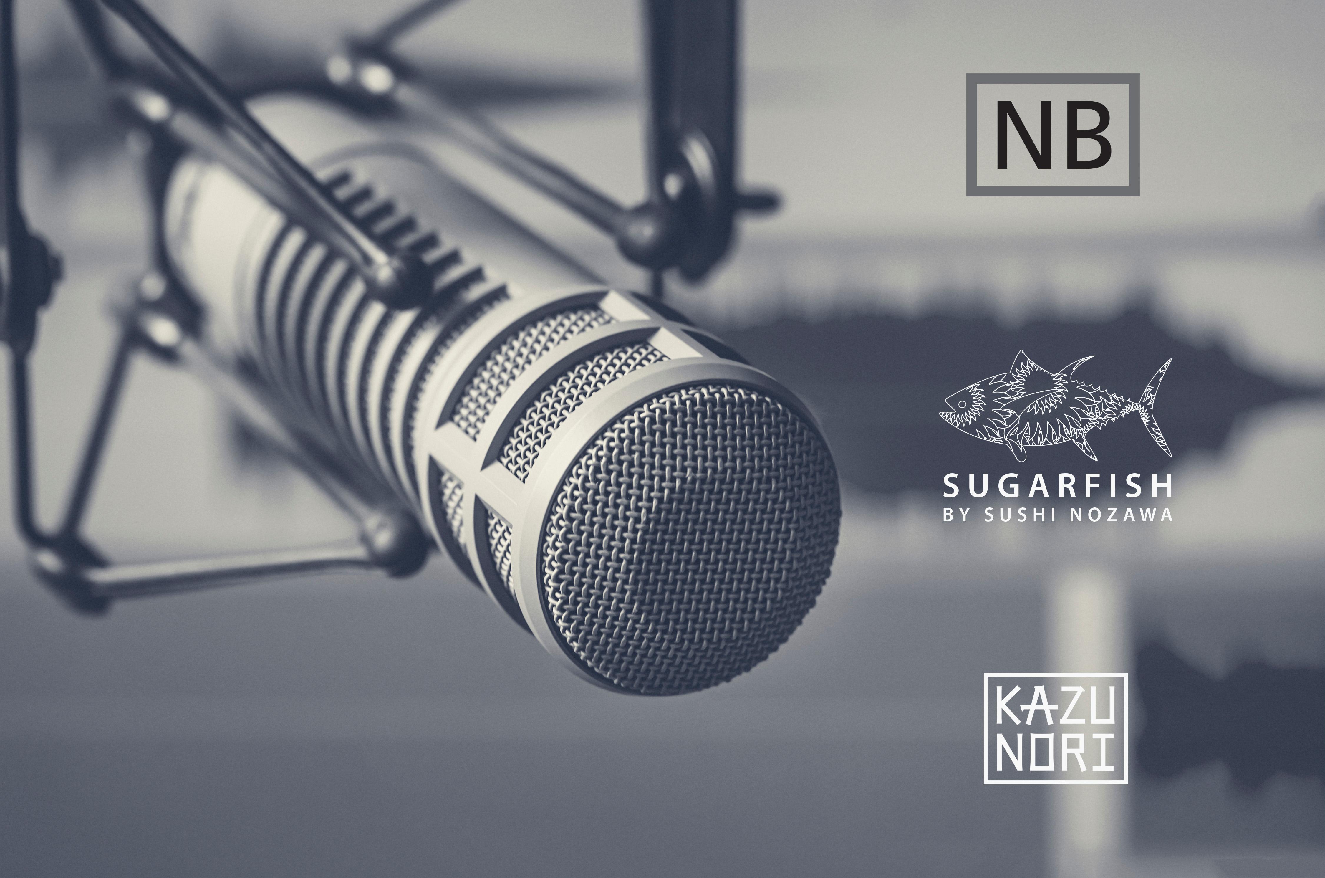 Microphone image with Nozawa Bar, SUGARFISH, and KazuNori logos