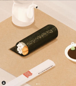 Honorable Mention image from National Handroll Day contest of chopstick wrapper, handroll, teapot, and soy sauce dish