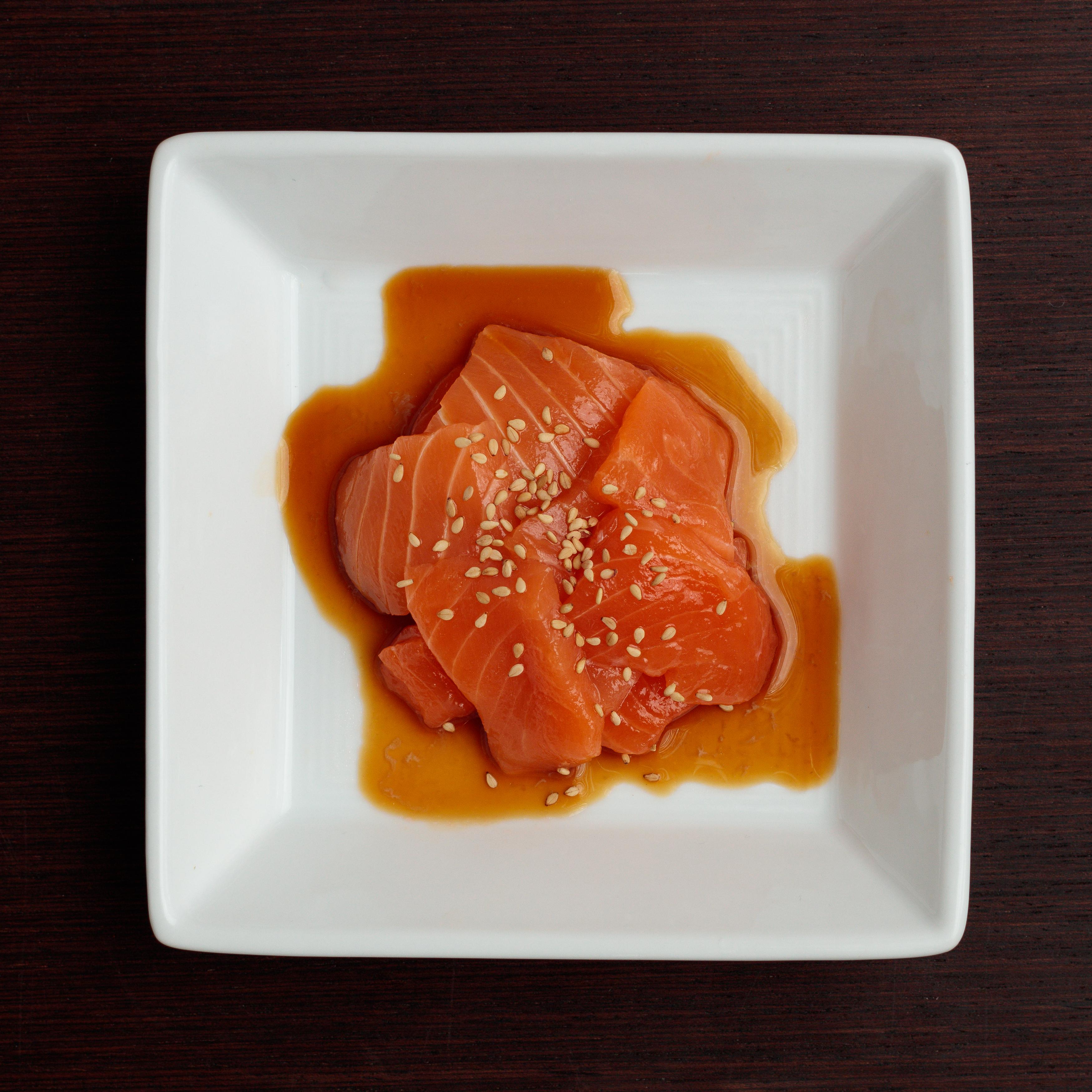 Dish with SUGARFISH Salmon sashimi