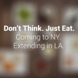 Don't Think. Just Eat. Coming to NY. Trust Me text