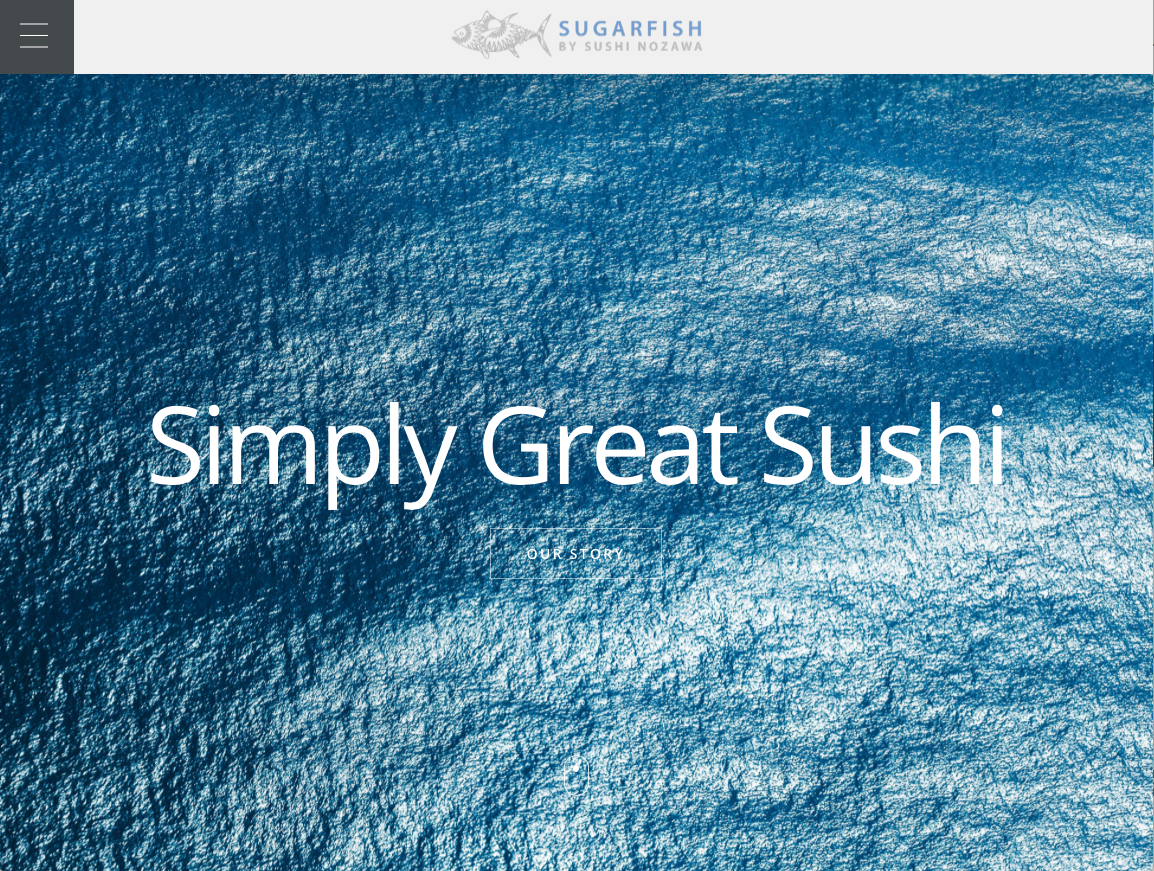 SIMPLY GREAT SUSHI text over an ocean background