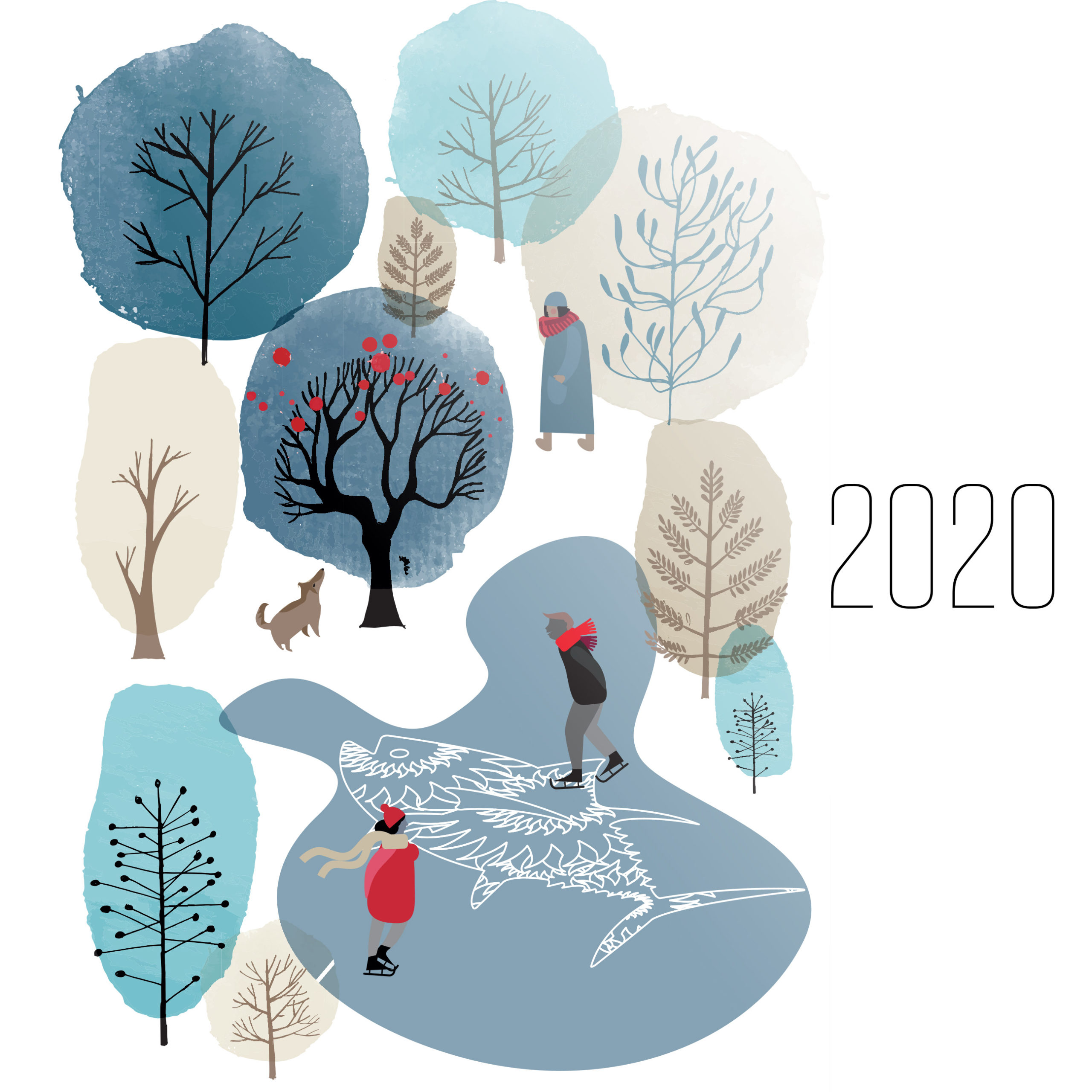 "Illustration of ice skaters in a park with trees and text ""2020"""